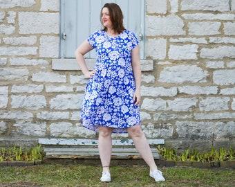 81029711d769 Pearlie Dress Everyday Tee Shirt Dress & Peplum Top Pdf Sewing Pattern for  Women