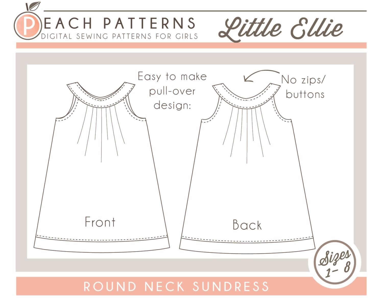 Little Ellie Round Collar Yoke Neck Dress Instant Download PDF | Etsy
