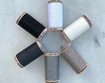 Black Thread, White Thread, Grey Thread, Scanfil 100% Organic Cotton Thread Wooden Spool, 300 yards/275 meters, GOTS certified, Plastic Free