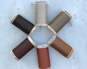 Brown Thread, Tan Thread, Scanfil 100% Organic Cotton Thread, Wooden Spool, 300 yds/275 m, GOTS certified, Plastic Free, Eco-Friendly