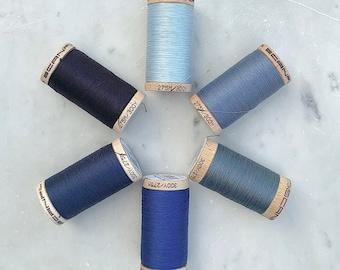 Blue Thread, Scanfil 100% Organic Cotton Thread, Wooden Spool, 300 yds/275 m, GOTS certified, Plastic Free, Eco-Friendly
