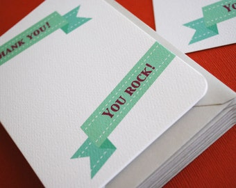 LIMITED- You Rock banner, set of 8 flat cards