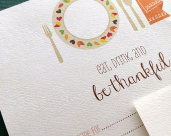 Thanksgiving recipe cards- housewarming gift, teacher gift, bridal shower recipe cards, instant download