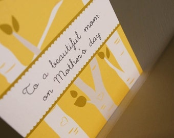 To A Beautiful Mom- Mothers Day card, love, holiday, trees, yellow, happy mothers day, greeting card