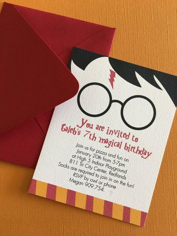 Harry Potter Tematyczne Urodziny Party Zaproszenie Magii Etsy
