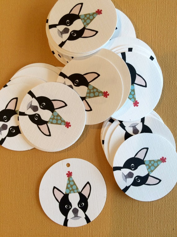 Birthday Party Boston Terrier Gift Tags Dog Lover