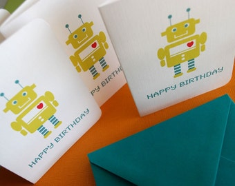 Robot Birthday cards in green, set of 6, kids birthday, nerdy birthday, fun,