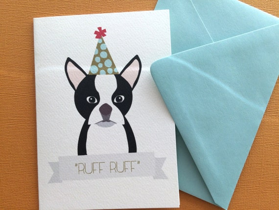 Ruff Ruff Boston Terrier Birthday Greeting Set Of 6 Party Etsy