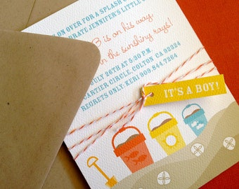 Beach Party invitation- great for showers and birthdays, pool party invitation, beach buckets, beach sand