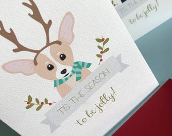 Antlers, Chihuahua Christmas greeting cards set of 12, pet portrait, gift card, notecard, holiday gifts, dogs