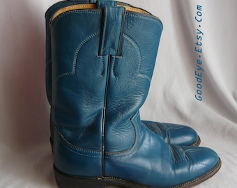 e229529a2aaf3 Vintage Turquoise Blue Justin ROPER Boots   Women size 7 .5 Eu 38 Uk 5  Narrow Width   Men sz 6 .5 All LEATHER Cowboy Ankle Boot