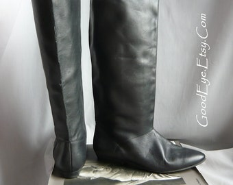 Vintage 90s PIXIE Slouch Boots / Black Leather size 7  M  Eur 37.5 UK 4 .5 / Boho Pirate Knee Boot Flat Heel / made in Yugoslavia