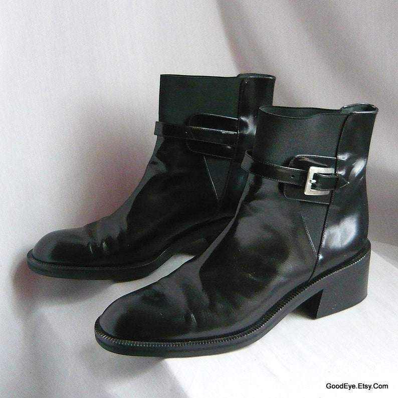 f9a958b8de Vintage Black Punk Ankle Boots   Made in Italy Via Spiga
