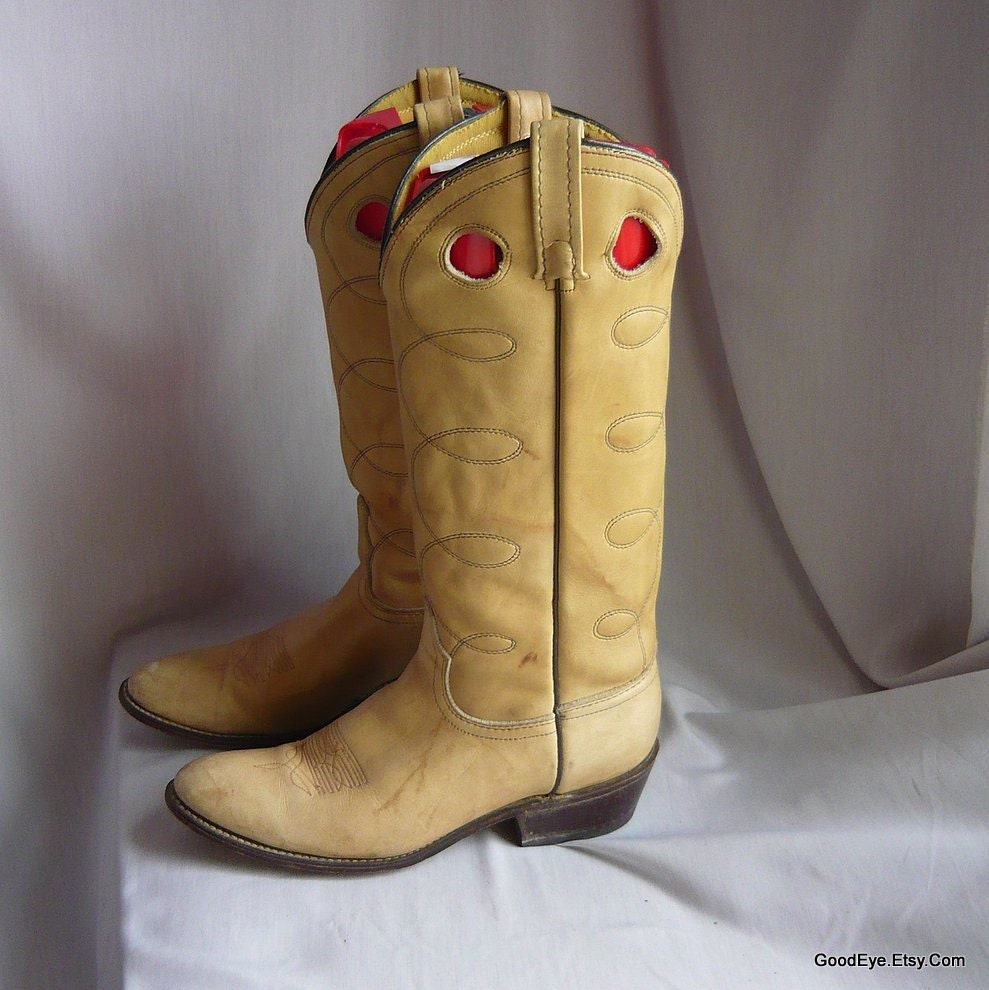 Vintage Acme Cowboy Cowboy Cowboy  botas    Ladies tamaño 9 .5 n  Eu 41 UK 7   Port Hole Rope Stitched cuero    hombres  Western  botas  sz 8 C   msde USA 1980s b164fc