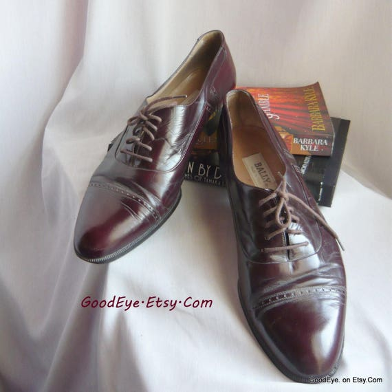 b56ac0d24c7e1 Vintage Men's BALLY Captoe Oxford Dress Shoes / size 10 d Eu 43 Uk 9 .5 /  Oxblood All LEATHER Bench Made Italy