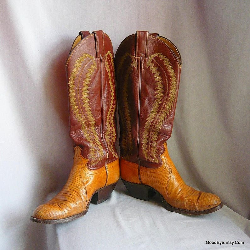 14020d01e91f5 Vintage JUSTIN Lizard and Leather Cowboy Boots / Women's Size 8 .5 Eu 39 Uk  6 / Flame Stitched Brown Tan / Mens Western boot sz 7 .5 B