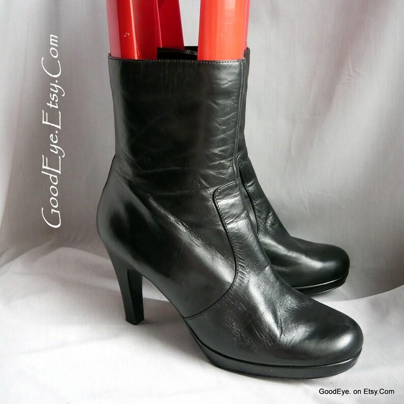 ee47fc5ba9a Vintage High Heel PLATFORM Ankle Boots / size 10 Eu 42 Uk 7 .5 | Etsy