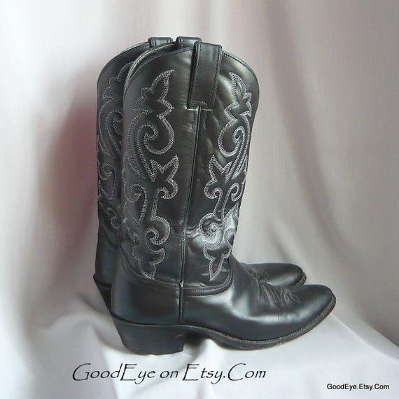 Mens Vintage JUSTIN Cowboy Boots / size 10 D Eu 43 UK 9  6 / Black Leather  w White WESTERN Flame Stitched / Ladies sz 11  5