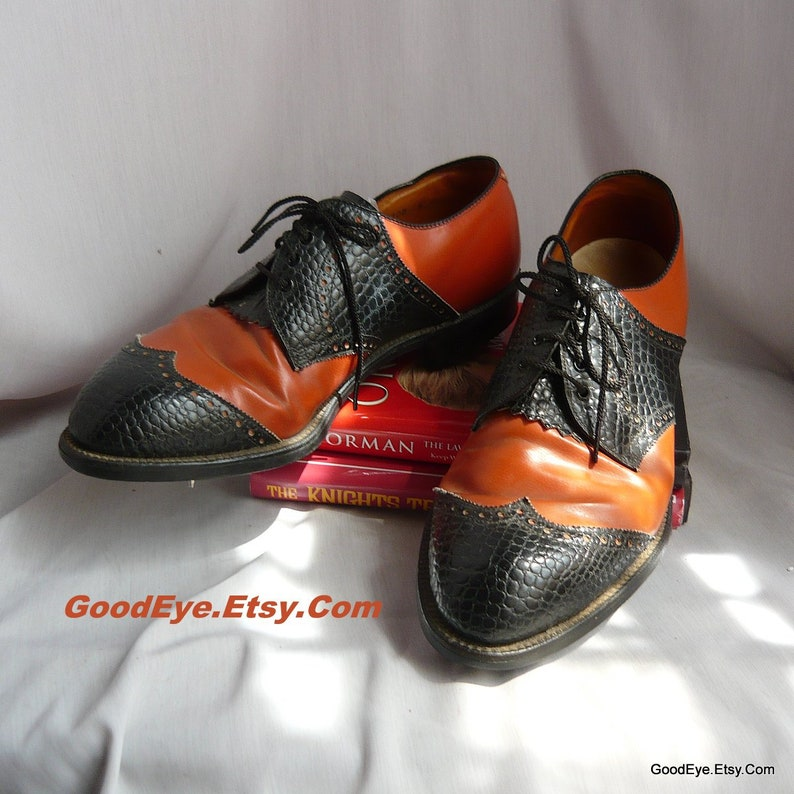 33001224ed896 Vintage BEN HOGAN Golf Shoes / Men size 9 .5 E-width Eu 43 .5 UK 9 / Black  n Tan Wingtip Leather Oxfords