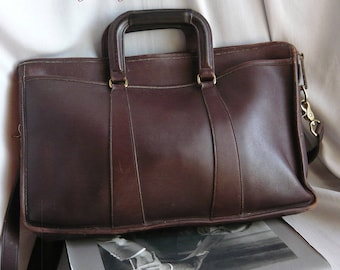 Vintage COACH Briefcase Shoulder Bag / Large Double Handle Glove Tanned Purse Luggage / Magazine Pockets Dark Brown made USA