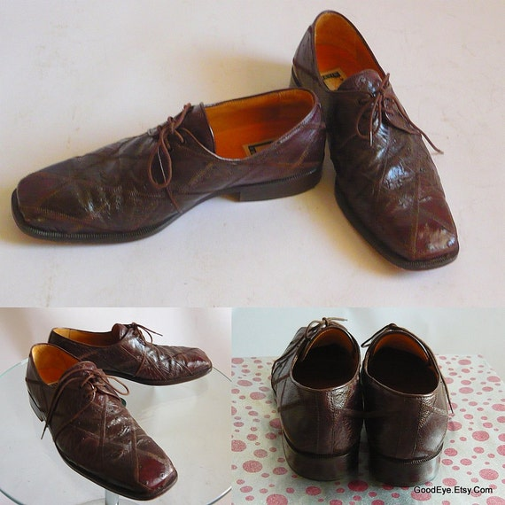 1a8042ea708fe Vintage Brown Ostrich Square Toe Oxford Shoes / men size 9 .5 m Eu 42.5 UK  9 / PATCHWORK Hide Laceup / David EDEN Handmade in Spain