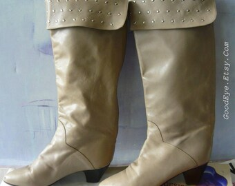 Vintage Charles David Knee Boots with NAILHEAD  CUFF / size 6 M  Eu 36 UK 3 .5 / Leather Taupe Riding Boot / made in Italy
