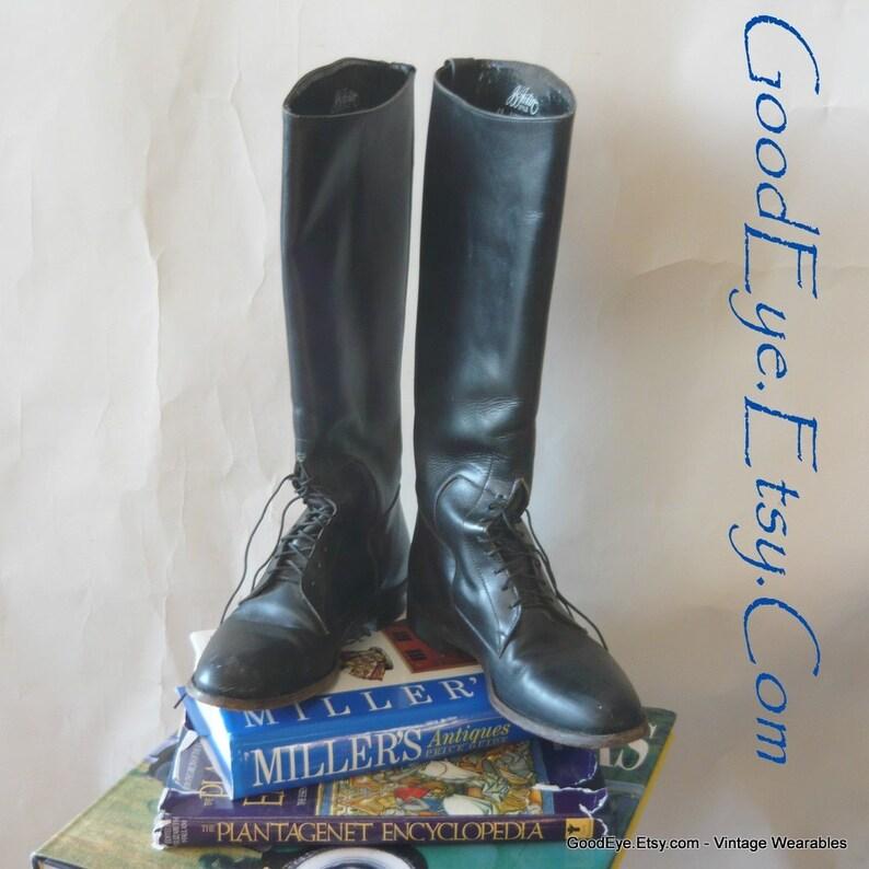 06a7d83b3 Vintage Equestrian Riding Boots Lace Up   size 8 B Eur 38 .5