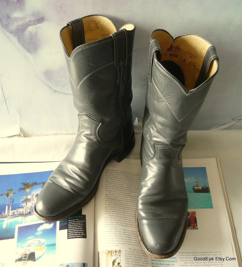 83c33e1b87c66 Vintage Justin Roper Ankle Boots / Womens size 7 Eu 37.5 UK 4.5 / Gray All  LEATHER Cowboy Boot / Men sz 6B