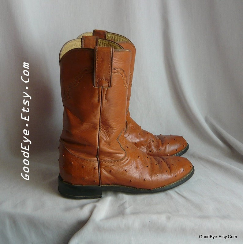 9e210fb027063 Vintage Justin ROPER Boots Ostrich Skin Leather / Women size 7 .5 Eu 38 Uk  5 Narrow Width Men sz 6 .5 b / British Tan Cowboy Ankle Boot