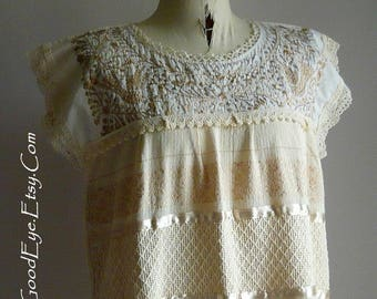 Vintage Floral Embroidered Mexican Dress / Tunic Medium size 10 12 14 / COTTON Satin Ribbon /Knee Length Beige Ivory White
