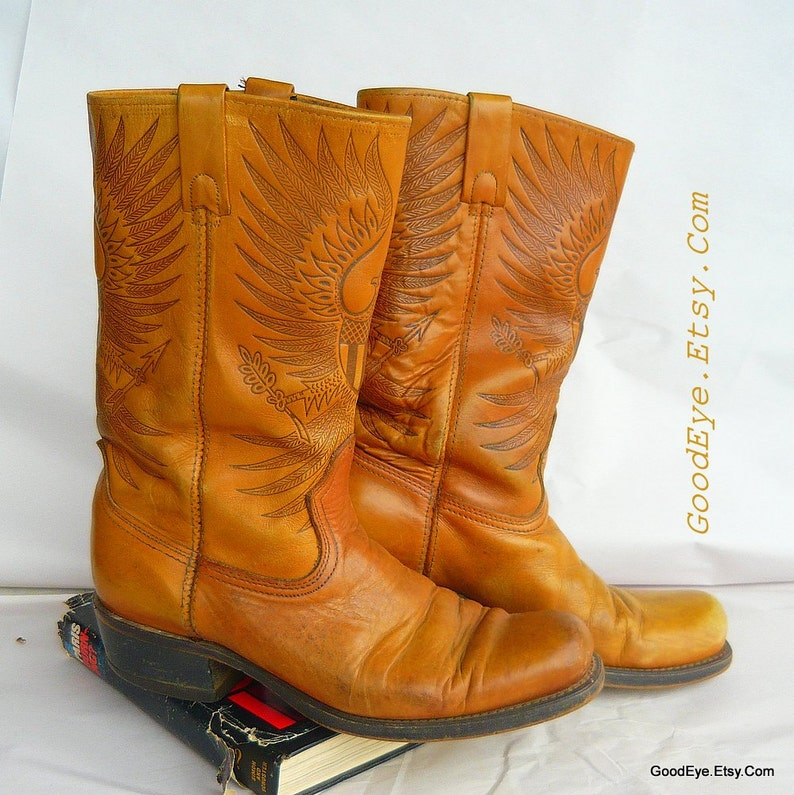 bb2283f38e2 Vintage Embossed Leather Biker Boots Cowboy / Men size 9. 5 D Womens 11 /  Hand Tooled FEDERAL EAGLE / Square Toe British Tan