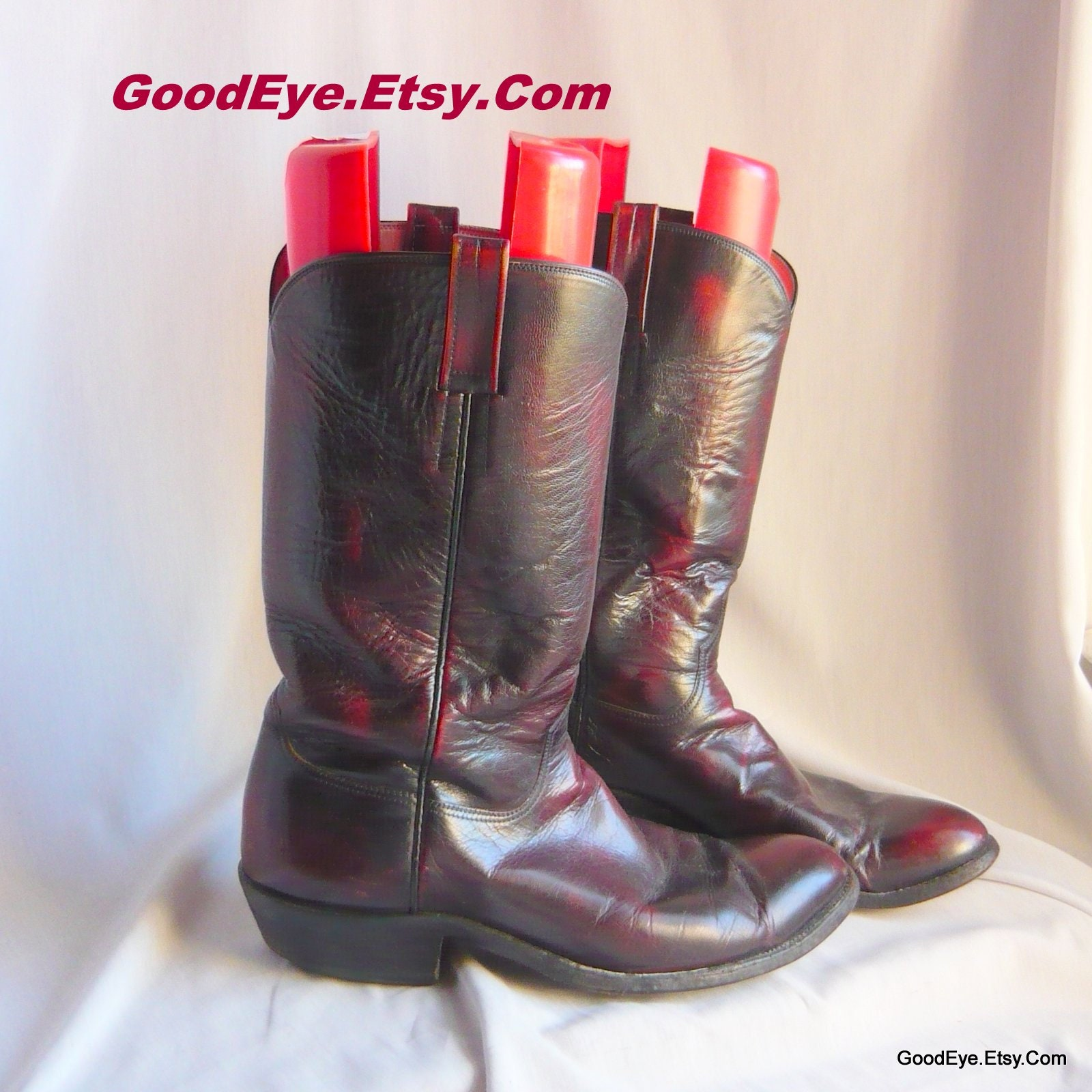 a895245ccd7 Vintage Cowboy Boots Custom Made / Men size 10.5 11 D Eu 44 UK 10 / Western  All LEATHER Ombre Maroon Black / Houston Texas USA