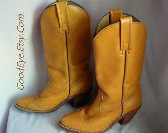 Vintage FRYE Western Boots  / size 7 Eu 37 .5 UK 4 .5 / Leather Cognac Tan Contoured High Heel /1990s made USA