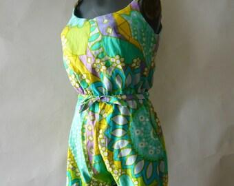 Vintage 60s Cotton Swim Suit / BOY LEG Romper Small size 4 6 8 / SANDCASTLE  Blue Green Floral