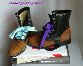 Vintage LAREDO Ankle  Boots / size 3 D Eu 34 UK 2 Kids Youth / Lace up Oxfords Two Tone / Suede Leather Vinyl Black Brown / made USA