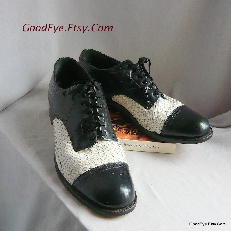 bd8b9f3bf790b Men's Black White Leather Oxfords / size 9 D Eu 43 UK 8 .5 / STACY Adams  Captoe Lace up Shoes / GANGSTER 20s