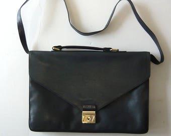 Vintage Leather Briefcase Satchel Bag/  Envelope Shoulder Bag / Blue Lizard Embossing Attache 80s 90s
