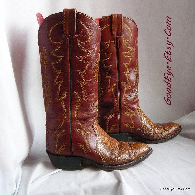 1470fe61382 size 8 .5 Vintage LARAMIE Cowboy Boots / Eu 39 Uk 6 / Snakeskin and Leather  / HANDMADE Western Flamestitch / Rust Brown