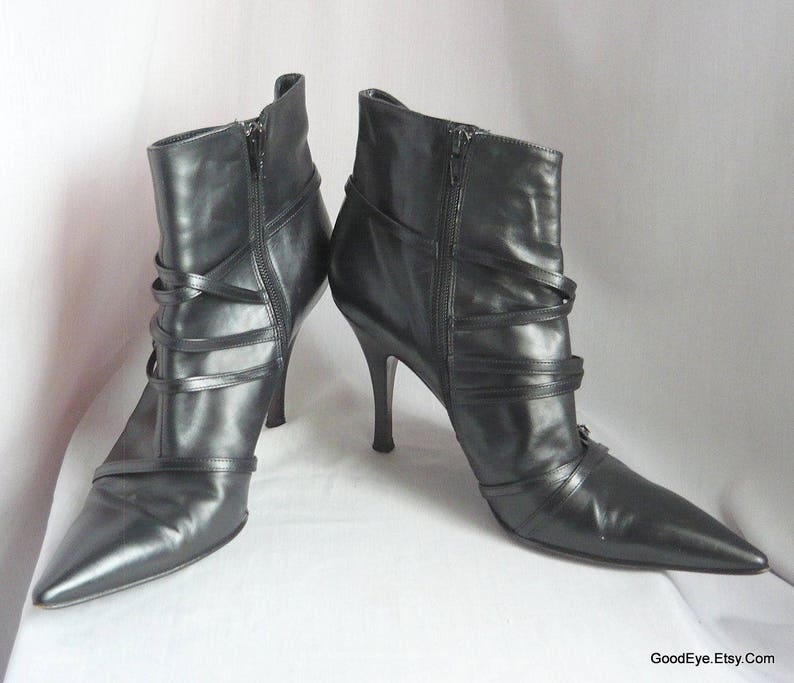 b3a4bac38324e Vintage Stiletto Ankle Boots / size 10 Eu 42 Uk 7 .5 / VIA SPIGA made in  Italy / Black Leather Side Zip Harness Straps Pointed Toe