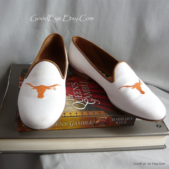 a997ebfd9808a Vintage ZALO Longhorn Loafer Shoes / size 7 B Eu 37 .5 UK 4 .5 / White  Canvas Leather Orange / College Univ Texas / Handmade in Spain