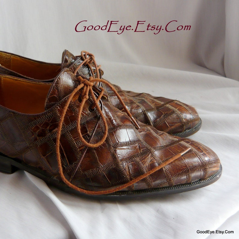 f2e230970304f Vintage Lizard Hide n Leather PATCHWORK Oxfords / men size 10 .5 m Eu 44 UK  10 / David EDEN Croc Brown Two Eye Dress Shoes / Handmade Spain