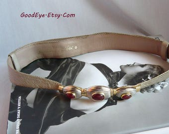Vintage 90s Judith LEIBER Jeweled Cinch Belt / Adjustable 26 to 39 inch waist / CARNELIAN Cabachons Tan LIZARD and Leather