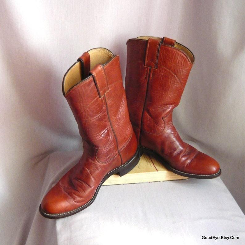 38416c307f7 Vintage Roper Boots WAXED Leather / Ladies size 7 .5 narrow width Eu 38 Uk  5 / Men sz 6 .5 b / Justin Cowboy Western Cognac Brown