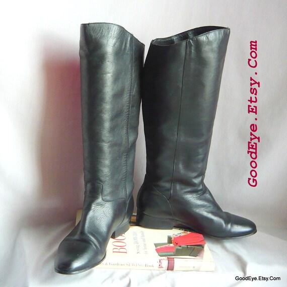 Tuyau de de de poêle Slouch bottes taille 8 Eur 38.5 UK 5.5 Largeur étroite / Wo  noir en cuir plat genou Riding Boot 581da4