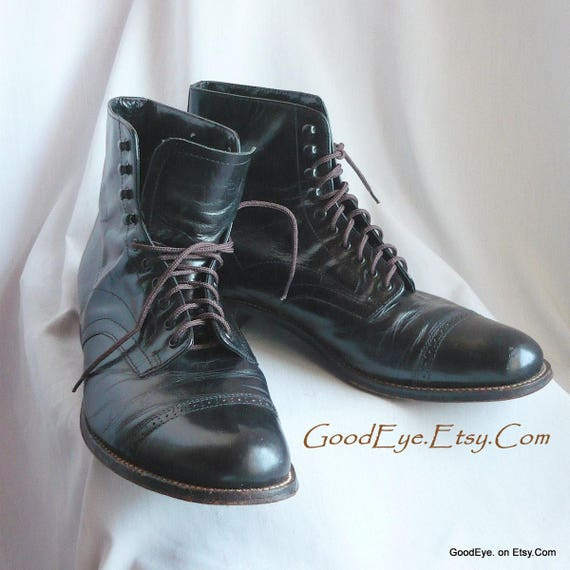 84cef235e3f Vintage STACY ADAMS Ankle Boots Mens / size 9 .5 D Eu 42 Uk 9/ Black  Leather Captoe Oxford Laceup Shoes