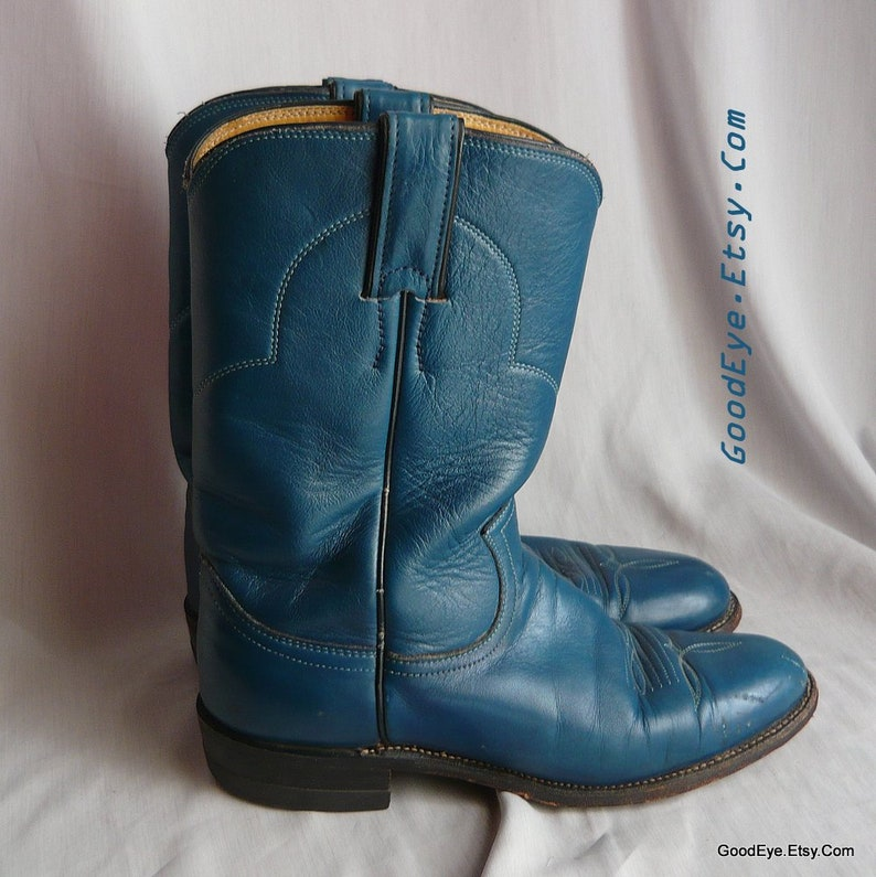 f5c65a22aea Vintage Turquoise Blue Justin ROPER Boots / Women size 7 .5 Eu 38 Uk 5  Narrow Width / Men sz 6 .5 All LEATHER Cowboy Ankle Boot