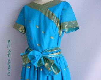 Vintage Blue Metallic Gold SARI Dress / Small 4 6 8  / Full Skirt Floor Length/  Short Sleeves Sash Belt