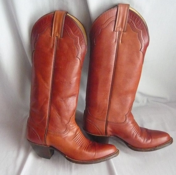 23b78f919e9 Vintage JUSTIN Skinny Leg Cowboy Boots / Ladies size 6 Eu 36 Uk 3 .5 /  Rockabilly Western Hand Lasted / All Leather Rust Brown