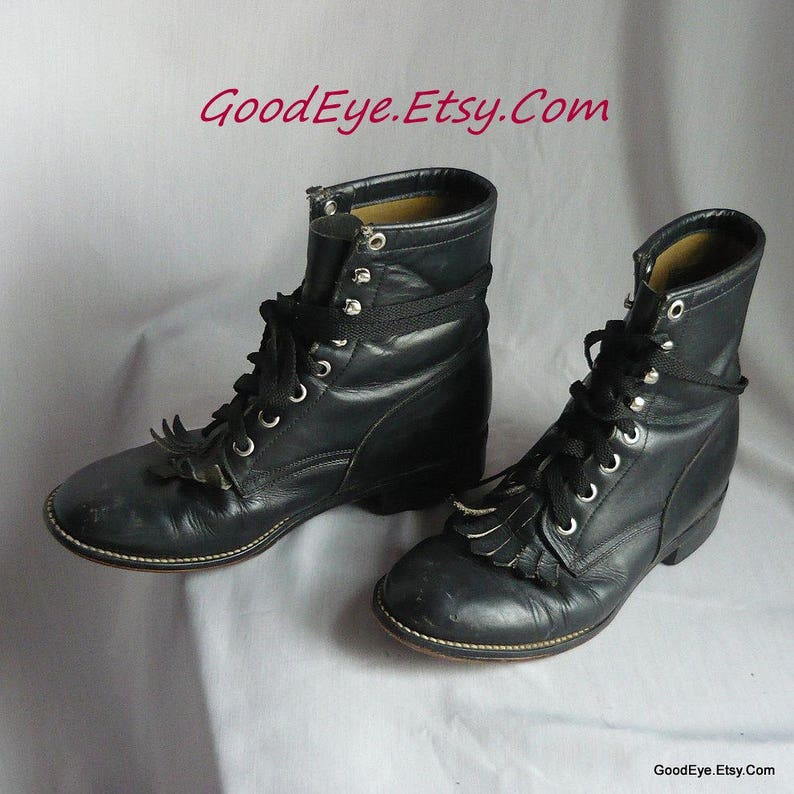 e74726615994 Vintage JUSTIN Kiltie Hightop Ankle Boots   Size 5 B Eu 35