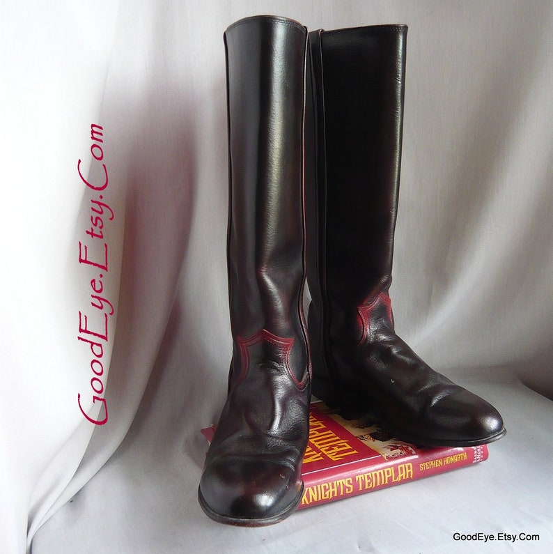 8fdabbcb072 Size 9 .5 Vintage Justin Riding Boots / Eu 41 UK 6 .5 / OMBRE Black Maroon  Leather / Equestrian Knee Length Ropers made USA